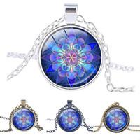 arts amulets - Mandala Pendant Mandala Necklace Blue Mandala Art Necklace zen Pendant charms Glass cabochon Necklace Yoga Jewelry lucky amulet