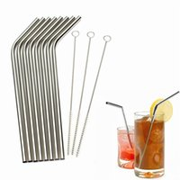 Wholesale Hot Eco Friendly Stainless Steel Metal Drinking Straw Reusable Straws Cleaner Brush Set