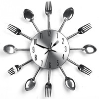 Wholesale Modern Design Wall Clocks Sliver Cutlery Kitchen Utensil Creative Wall Clock Spoon Fork Clock Home Decor