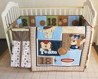 bear urine - 8 Pieces Embroidered bear Baseball combination Baby Bedding Set Quilt Bumper Mattress Cover Bed Skirt Urine bag Crib Bedding Set