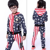 american flag suit jacket - Jacket Pants Children s Sets Stars and Stripes Flag Sports Suits for Girl Kids Long Sleeves Hooded Baby Boys Clothes size by DHL EMS