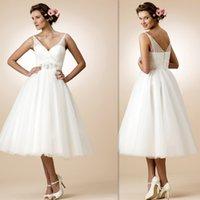 Wholesale 2016 Short Tea Length Wedding Dresses White Beach Cheap V Neck Bridal Gowns Beaded Open Back Tulle Cheap Designer Formal Brides Dress Online