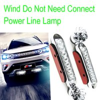 Wholesale Wind Powered Auto Car LED Light Decorative Lamp Silver Tone Black Automobile Lighting System Car Headlights