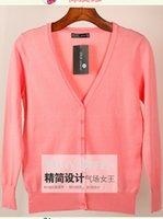 Wholesale Basic Soft Knit Cardigan Women Color Button down Long Sleeve autumn spring sweater lady Plus size M XL pieces XQ01