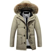 Wholesale Fall Faux Fur Hat Mens Winter Jackets and coats X Long Thicker Warm Winter Duck Down Jacket for Men Hooded Parkas Coat Plus Size XL