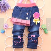 Wholesale kids jeans infant baby girls pants with lace flowers2016 autumn fall