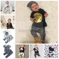 batman chocolate - Baby Ins Clothing Sets Fashion Summer Outfits Letter T Shirts Pants Cotton Tops Trousers Boys Batman Animal Print Suits Kids Clothing B489