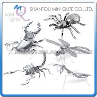 Wholesale DHL Piece Fun D animal insect Mantis Scorpion Stag Beetle Tarantula Dragonfly Metal Puzzle adult models educational toy