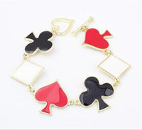 asian club - Poker Style Gold Plated Heart Club Shaped Bracelet for Women Charms Playing Card Jewelry Poker Bracelets
