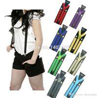 Wholesale Men s Unisex Clip on Braces Elastic Slim Suspenders inch wide colors mix Y back Suspenders Retail