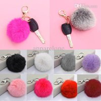 Wholesale Keyring Pompom Keychain Ball Real Fur Soft Fluffy Charm Dangle