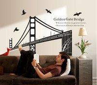 bathroom gate - high quality Fashion Vinyl Golden Gate Bridge Waterproof Environmental Wall Sticker for Living Room Bedroom