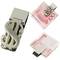 Wholesale Silver Money Clip Holder Dollar Pattern Slim Pocket Cash ID Credit Card Stainless Steel Metal Clips cm PA838578