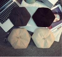 Wholesale Qiu dong beret buds painter British cloth cap black octagonal cap seven color berets