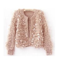 Wholesale women sweater cardigan with beading mohair cardigans sequins short black sweaters fashion loose style ukriane free ship retail