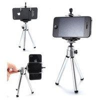 Wholesale 100set Mini Rotatable Stand Tripod Mount Phone Holder clip for iPhone Samsung HTC SONY