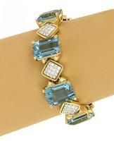 aquamarine diamond bracelet - Estate ct Aquamarine Diamonds k Yellow Gold Fancy Bracelet