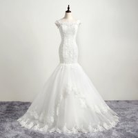Wholesale 2016 New Real Mermaid Wedding Dresses Bateau Cap Sleeveless Lace Up Back Lace Applique Beads Sweep Train Bridal Gown
