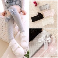 ballet tights - 2016 New Spring Autumn Girls Ballet Dancing Stockings Kids Children Cotton Tights Baby Plaid Stockings Princess Bow Socks