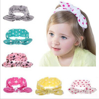 Wholesale Fashion Baby Girls Polka Dot Bunny Headbands Bow for Newborn Infant Kids Elastic Cotton Hairbands Children Kids Hairbands Accessories KHA389