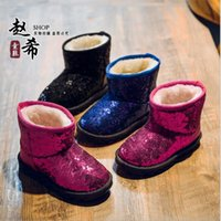 Wholesale New Fashion Children Snow Boots Kids Leather Boots for Girls Winter Warm Shoes Glitter Baby Ankle Boots Princess Style Girls Shoes