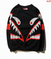 animal fleeces - 2016 brand fashion supre design fleece man crewneck sweatshirts luxury fashionable shark sweatshirt mens autumn tops high quality clothing