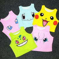 Wholesale Pocket Monster Tank Tops Women Poke Pattern Vest Pikachu Jeni Turtle Charmander Squirtle Print Sleeveless T shirts Colors For Sale