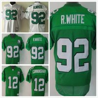 Wholesale Throwback Eagles Reggie White Randall Cunningham Men Football Jerseys Replica Green White Mix Orders