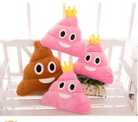 Wholesale 14 Inch emoji expression pillows plush toys cm EMS New Style cartoon crown Cushion rainbow color Shits Plush toys B001