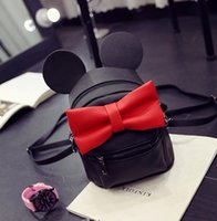 Wholesale Korean Girl Backpack Handbag - Girls Backpack 2016 New Korean Cute Cartoon Mickey Design Backpack Fashion Bow Girls HandBags with Ear