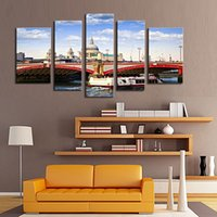 artwork poster - 5 Panel Painting Venice Bridge in Poster Print Retro Artwork Tone Landscape Painting Wall Art Prints on Canvas For Home Decoration