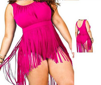 Além de roupas de banho de moda de tamanho Preços-Hot Moda Swimsuit 2016 Plus Size Fringe Swimwear Mulheres One Piece Swimsuit Tassel Sexy Bra Push Up Praia Underwear Halter trajes de banho