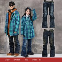 Wholesale Snowboarding Pantalones Jeans Ski Pants Men Skiing Pant Women Snowboard Denim Ski Pants Windproof Waterproof Warm Pant New