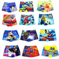 Wholesale boys swimming trunks boxer D cartoon spiderman swimwear superman minion cars mickey baby Boy Swimsuit children toddler Beachwear