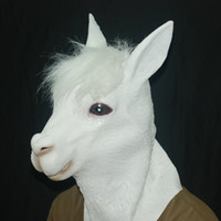Wholesale 2016 Halloween Alpaca Creepy Horse Mask Head Costume Theater Prop Novelty Latex Rubber Animal Mask Full Face Halloween Latex Mask Carnival