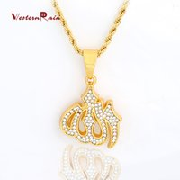 Wholesale Long Diamond Necklaces - WesternRain Muslim totem pendant and transparent diamond jewelry necklace for men and women long necklace statement 45CM  75CM Necklace F813