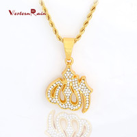 Bracelet,Earrings & Necklace muslim jewelry - WesternRain Muslim totem pendant and transparent diamond jewelry necklace for men and women long necklace statement CM CM Necklace F813