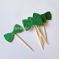 baby shower tea - Christmas Green glitter bows Cupcake Toppers birthday baby bridal shower tea party food picks wedding cake decoration toothpicks