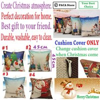 Wholesale Christmas Santa Cotton Linen Throw Pillow Case Sofa Home Car Cushion Cover durable washable and easy to clean