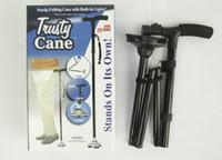 Cheap Trekking poles Trusty Cane LED Light Foldable Triple Head Pivot Base Hurry Secure walking stick