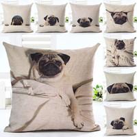 Wholesale 2016 Hot Selling Sleep Pug Home Decorative Sofa Cushion Throw Pillow Case Cotton Linen Square Pillows