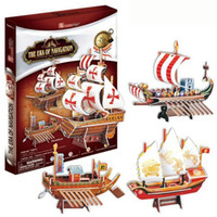 ancient china toys - T0415 D Puzzles China ancient sailing The era of navigation Paper Model Pirate Ship kids Creative gift Educational toys