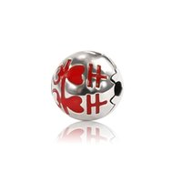 Cheap 925 Sterling Silver Be Happy Clip with Red Enamel Charm Bead Fits European Jewelry Bracelets & Necklaces OMC002