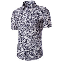 Wholesale Men s Plant Flowers Printed Short sleeved Shirt Comfortable Breathable Linen Summer New Men Beach Wear Shirts Tops