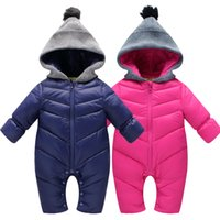 Wholesale 2016 winter High Quality Baby Rompers Winter babys Boys outerwear Girls Warm Clothes Kids Jumpsuit Baby duck down crawling clothes