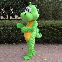 venda por atacado fábrica de roupas direta-Alta qualidade dragão dinossauro verde mascote traje rosa roupa dos desenhos animados Fato Adulto Tamanho Fancy Dress Partido Factory Direct frete grátis