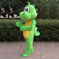 Wholesale High Quality Green dragon Dinosaur Mascot Costume Cartoon Clothing Pink Suit Adult Size Fancy Dress Party Factory Direct