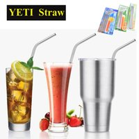 beer drinking cups - 304 Stainless Steel Straw Metal Drinking Straw Beer YETI Straws Cleaning Brush Set Retail Kit Fits Yeti Tumbler Rambler Cups OTH286