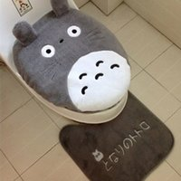 Wholesale 3 Piece Set Winter Super Soft Velveteen Thickening Toilet Potty Sets Toilet Seat Cover Totoro Cartoon Warm Carpet Close Stool Cushion Mat