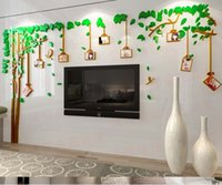achat en gros de photo acrylique cadres mur-2016 Hot Acrylique 3D photo cadre Tree Wall Stickers pour la salle de séjour Walls de télévision Décalcomanies murales amovibles Family Memory Home Decor